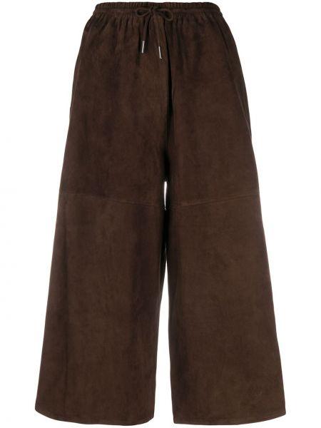 Zamsz brązowy spodnie culotte z kieszeniami Co