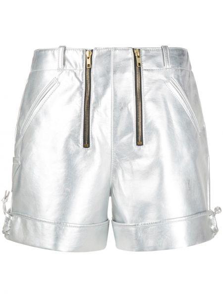 Серебряные шорты с карманами с высокой посадкой Philosophy Di Lorenzo Serafini