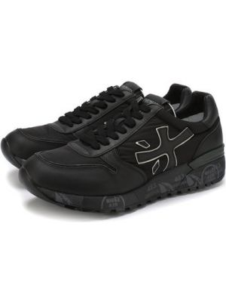 Комбинированные текстильные черные кроссовки на шнуровке Premiata