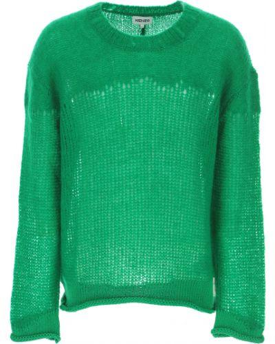 Zielony długi sweter moherowy z długimi rękawami Kenzo