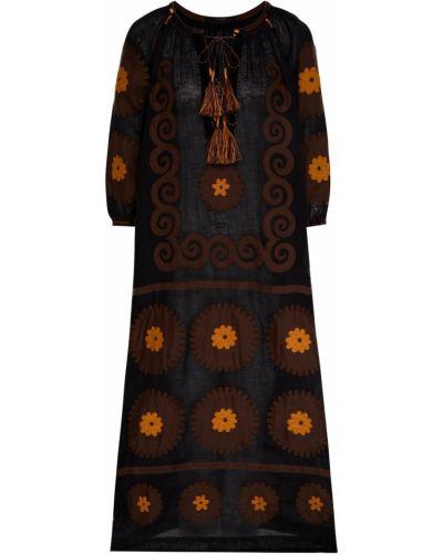 Льняное с рукавами черное платье Vita Kin