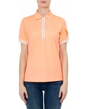 Оранжевая футбольная футболка на пуговицах с короткими рукавами Bogner