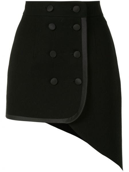 Черная с завышенной талией юбка двубортная на пуговицах George Keburia
