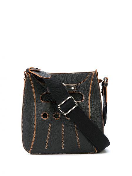 Кожаная черная сумка через плечо с перьями на молнии Perrin Paris