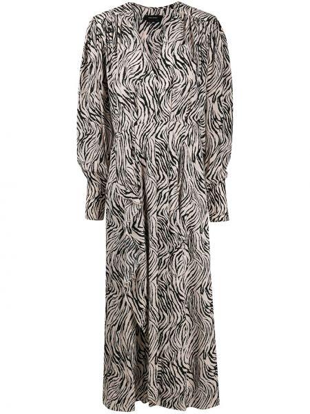 Jedwab czarny długo sukienka z dekoltem w szpic rozciągać Isabel Marant