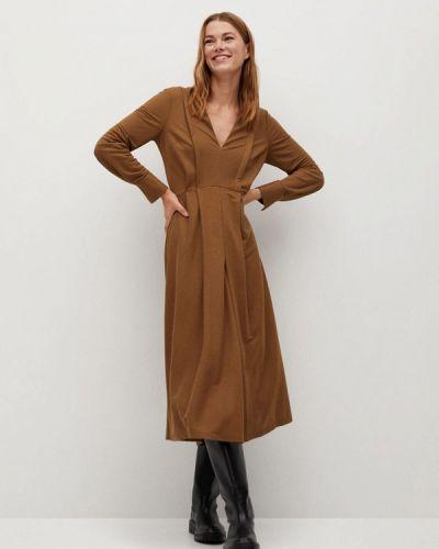 Коричневое прямое платье Mango