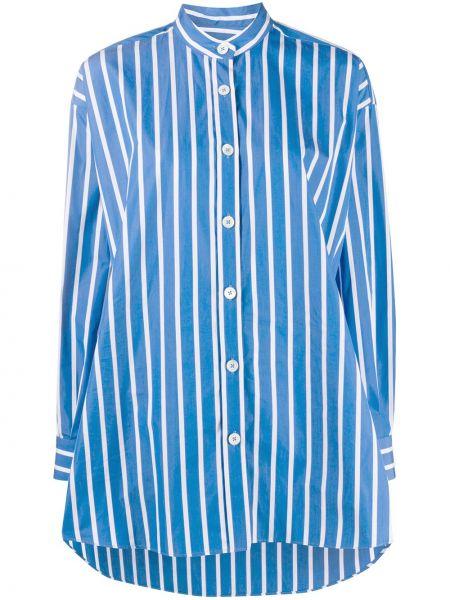 Хлопковая синяя рубашка с воротником на пуговицах Odeeh