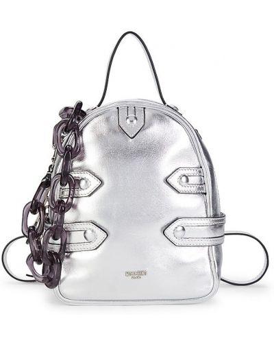 Кожаный рюкзак - серебряный Moschino