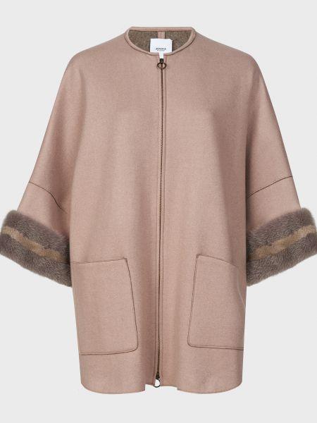 Коричневое кашемировое пальто на молнии Agnona