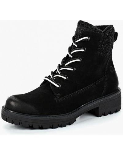 Ботинки на каблуке осенние из нубука Tamaris