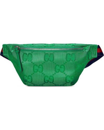 Нейлоновая зеленая поясная сумка на молнии Gucci Kids