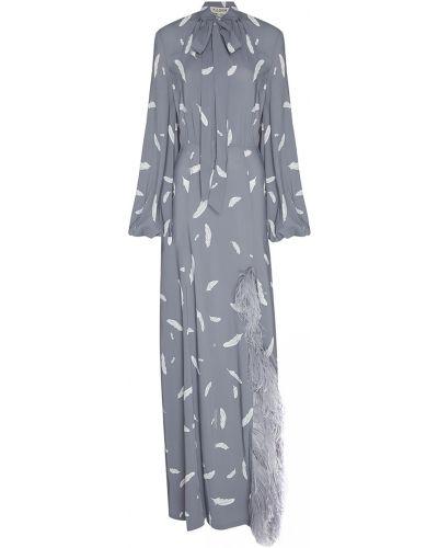 Шелковое серое платье макси с перьями A La Russe