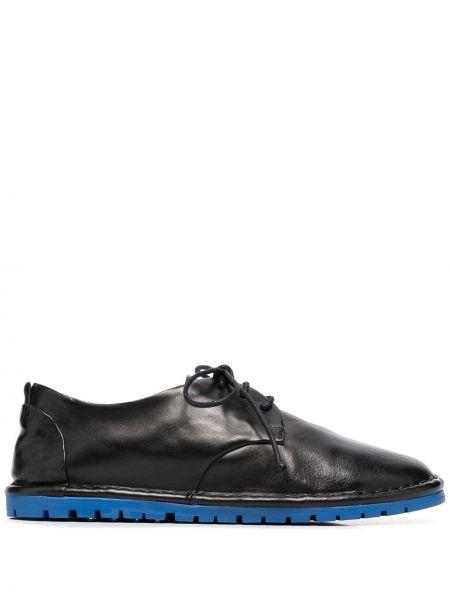Czarny koronkowa buty brogsy na sznurowadłach okrągły nos Marsell