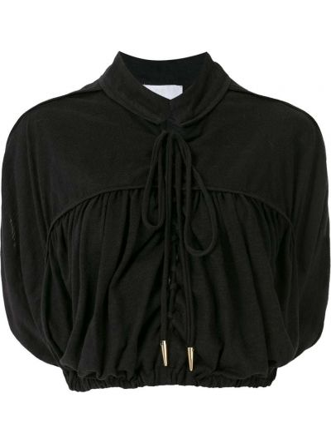 Z rękawami czarny bluzka z falbankami Andrea Bogosian