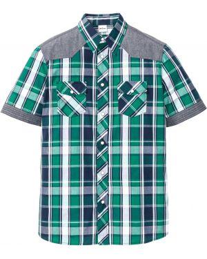 Джинсовая рубашка в клетку с короткими рукавами Bonprix