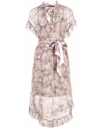 Платье с поясом с цветочным принтом шелковое Zimmermann
