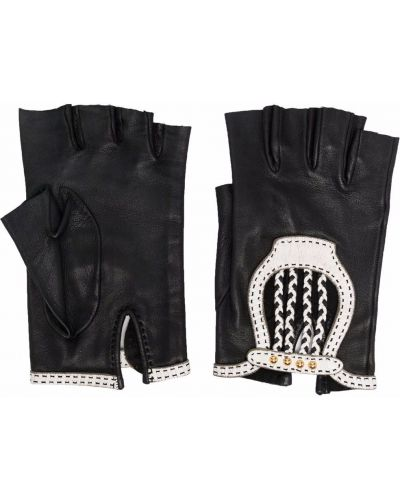 Черные перчатки с манжетами Hermès