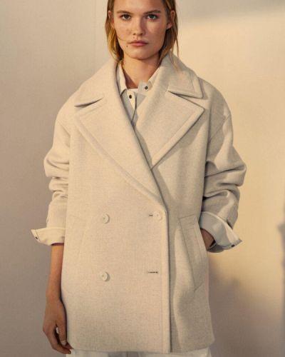Белое пальто осеннее Massimo Dutti