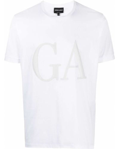 С рукавами белая футболка с вырезом Giorgio Armani