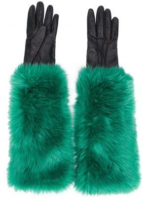 Черные акриловые кожаные перчатки винтажные с подкладкой Prada Pre-owned