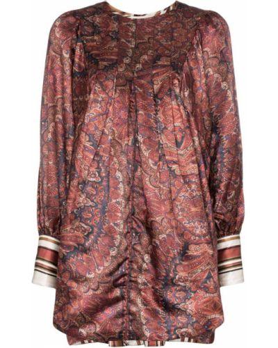 Коричневое приталенное платье мини винтажное с манжетами By Timo