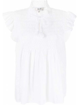 Блузка с короткими рукавами - белая Sea