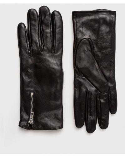 Черные кожаные перчатки Vero Moda