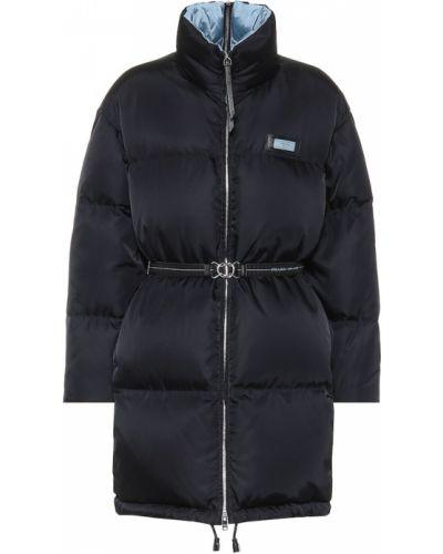 Пуховая кожаная куртка - черная Prada