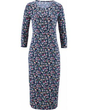 Платье миди облегающее с длинными рукавами Bonprix