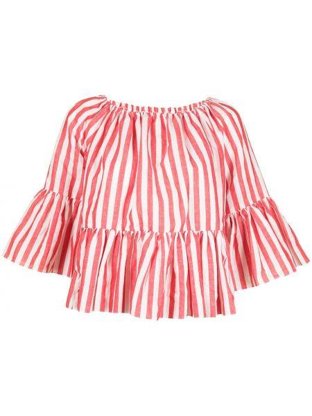 Красная блузка с оборками с короткими рукавами Bambah