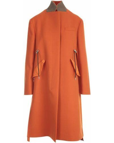 Pomarańczowy płaszcz wełniany Sacai