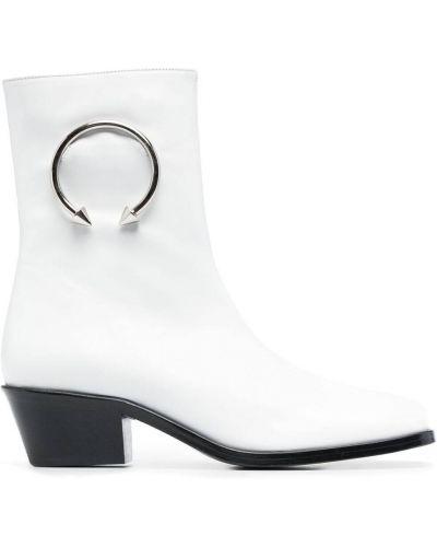Białe ankle boots skorzane na obcasie Dorateymur