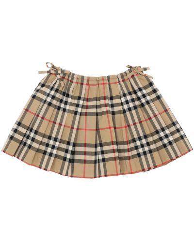 Бежевая хлопковая юбка со складками в клетку Burberry