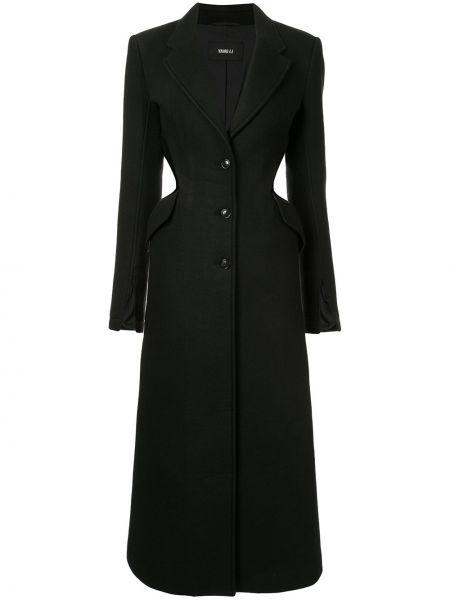 Акриловое черное приталенное пальто на пуговицах Yang Li