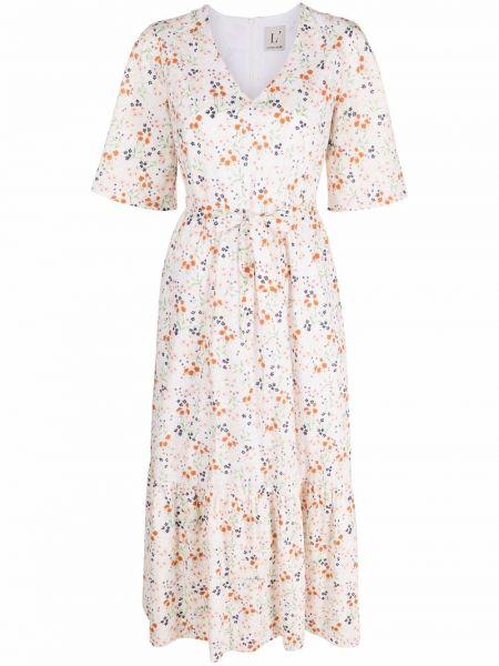 Белое платье миди с короткими рукавами для полных Lautre Chose