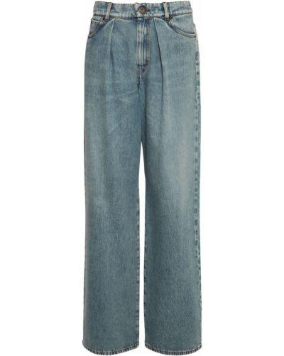 Джинсовые синие прямые джинсы с карманами Weekend Max Mara