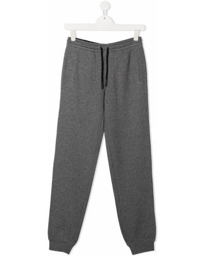 Хлопковые серые брюки дудочки с карманами Sun 68