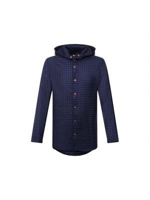 Синяя итальянская рубашка Kiton