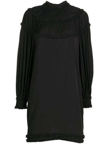 Шелковое черное платье мини трапеция Fendi