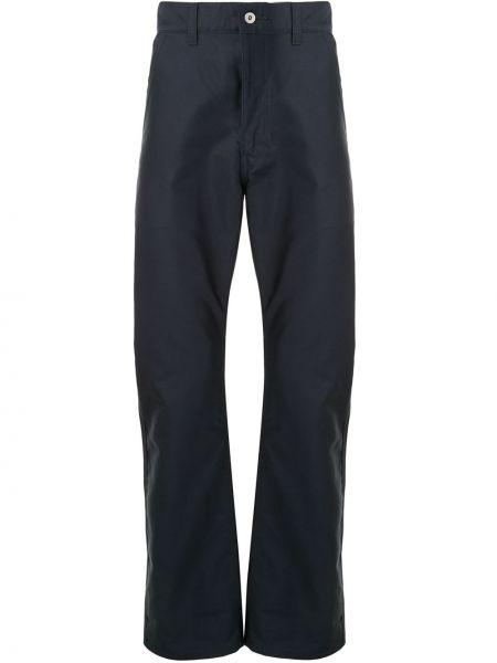 Хлопковые классические синие брюки на молнии Junya Watanabe Man