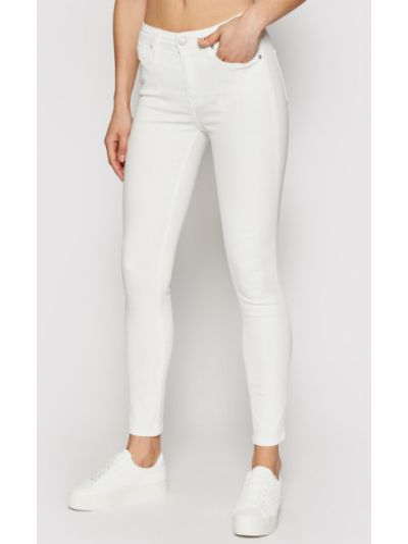 Białe jeansy rurki Calvin Klein Jeans