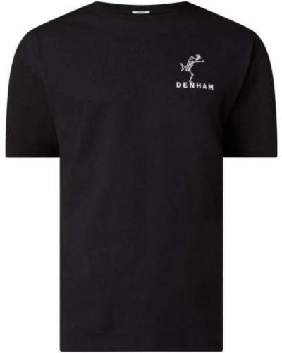 Czarny t-shirt bawełniany z printem Denham