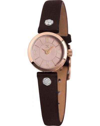 Часы на кожаном ремешке розовый кварцевые Nika