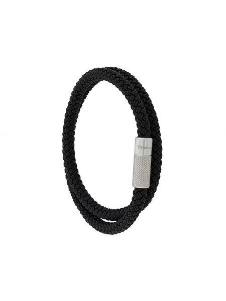 Плетеный браслет черный из серебра Ermenegildo Zegna