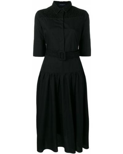 Платье мини с воротником - черное Piazza Sempione