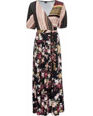 Платье макси с поясом с рукавами Bonprix