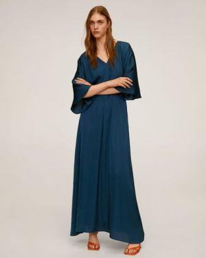 Платье с поясом с V-образным вырезом длинное Mango