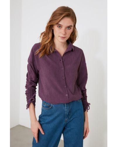 Fioletowa koszula z wiskozy Trendyol
