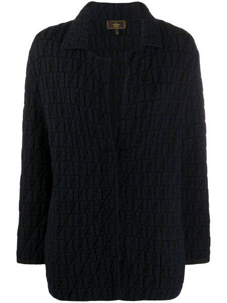 Вязаная синяя куртка с вышивкой Fendi Pre-owned
