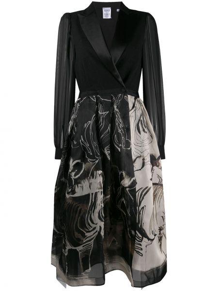 Черное платье миди с запахом с V-образным вырезом на пуговицах Sara Roka